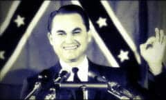 Alabama Gov. George C. Wallace is shown in this Oct. 19, 1964 photo speaking in Glen Burnie, Md. at a rally supporting Republican presidential candidate Sen. Barry Goldwater.  (AP Photo)